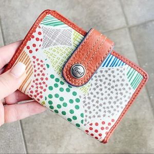 Fossil Bi-Fold Red Leather Patchwork Print Wallet